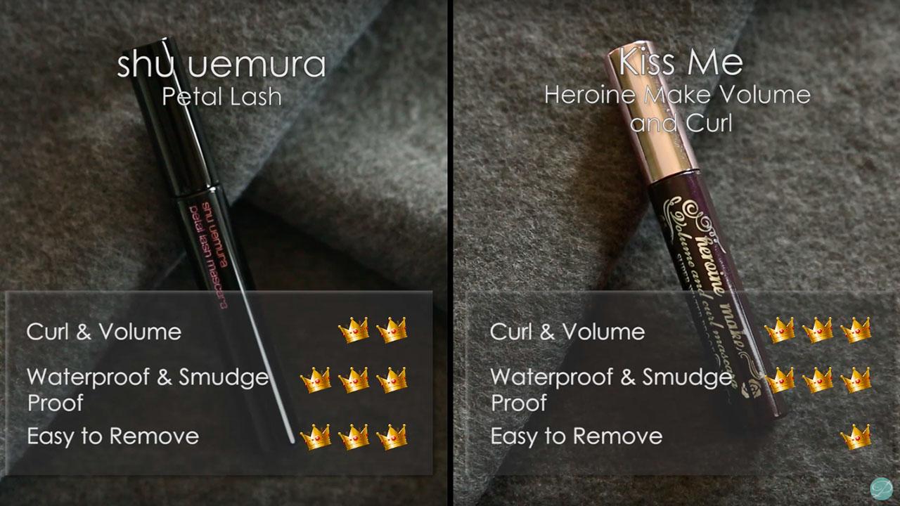 shu uemura Petal Lash vs Kiss Me Heroine Make Volume and Curl