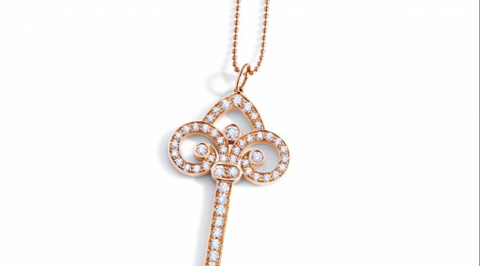 Tiffany & Co. Fleur De Lis Key Pendant in 18K Gold with Diamonds-Pamper.my